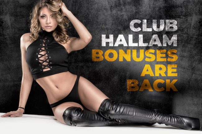 Sexy Girl with leather boots poster with text describing bonuses coming back to Club Hallam